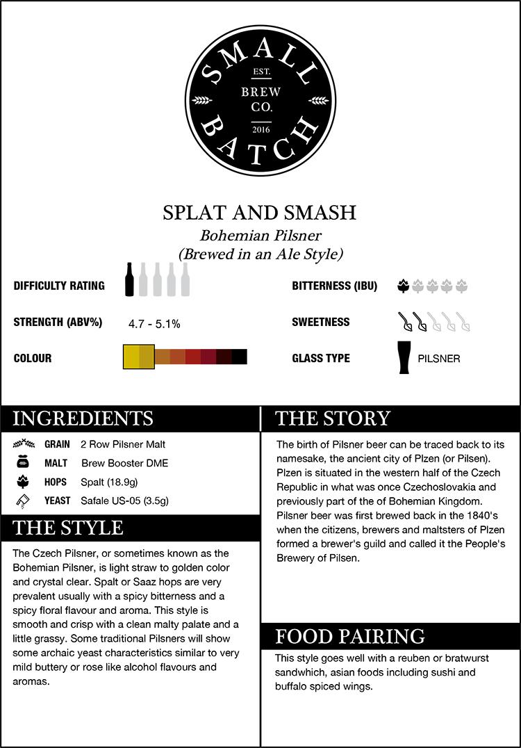 Small Batch Brew Splat and Smash Pilsner Recipe Kit