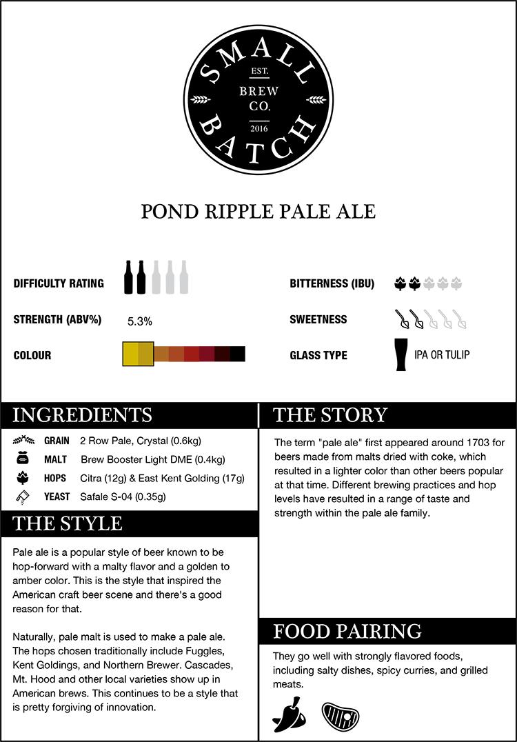 Small Batch Brew Pond Ripple Pale Ale Recipe Kit